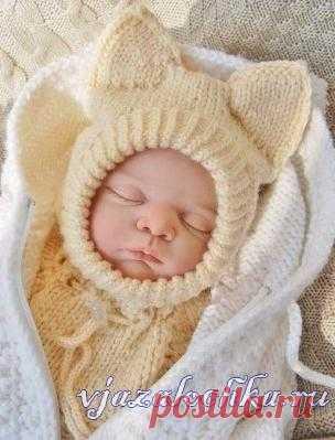 Шапка-шлем спицами малышу [] #   Baby
