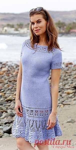 Платье Queensland Размеры: S - M - L - XL - XXL - XXXL Вам потребуется: пряжа DROPS SAFRAN от Garnstudio 700-750-800-900-1000-1050 гр цвет 05, сиренево-голубой; крючок № 3.5 мм; крючок № 3 мм - для обвязки рукавов.