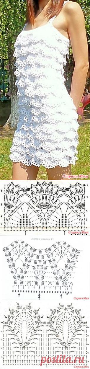 Ажурное платье с оборками - Вяжем вместе он-лайн - Страна Мам