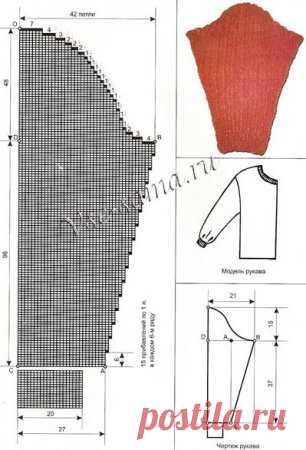 Свитер мужской с рукавом реглан, связанный спицами:: пуловеры и.