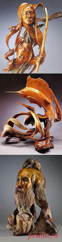 Корнепластика.  Американский скульптор Дж. Кристофер Уайт является поистине уникальным скульптором. Скульптуры Уайт вырезает из  можжевельника. Именно у него так причудливы ветки и корни.