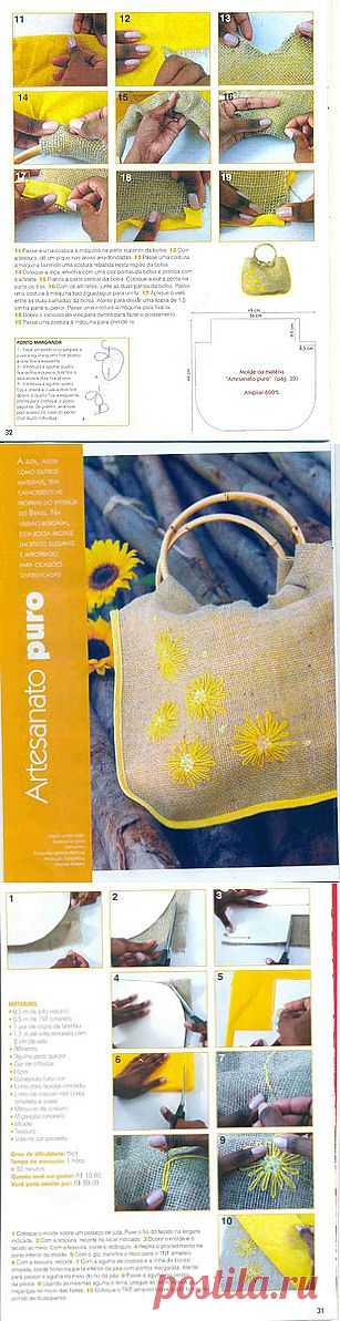 Tita Carré - Agulha e Tricot : Bolsa de tecido com bordado amarela