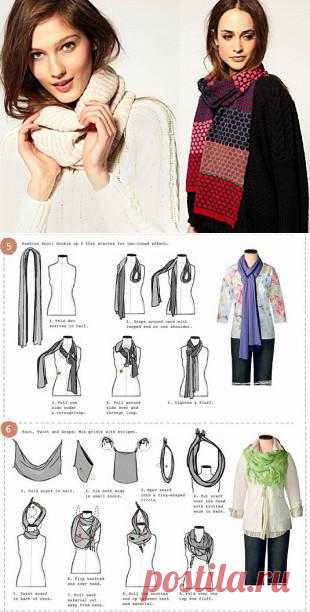 6 stylish ways to tie a scarf. Interesting accent for any dress