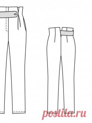 Trousers with a short waist - a pattern No. 113 of the magazine 9\/2014 Burda – a pattern of trousers on Burdastyle.ru