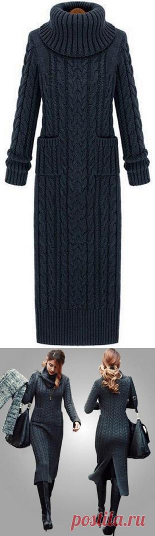 Платье с узором из кос спицами