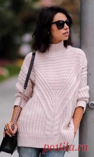 Стильный свитер спицами Конкурс