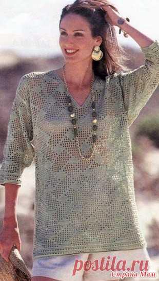 """. Ажурный пуловер. Ажурный пуловер связан крючком из хлопка простым, но интересным узором """"плетёнка"""" http://woman7.ru/"""