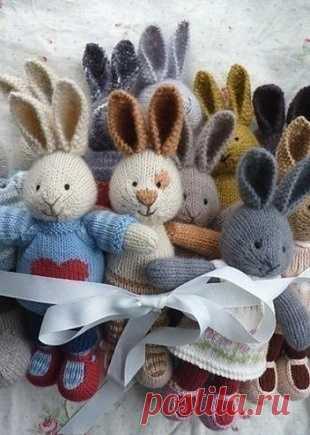 вязаные спицами зайцы вязание вязаные игрушки постила