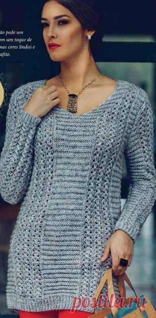 Длинный пуловер спицами