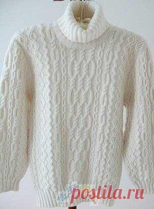 c1337f3c81752  Мужской свитер с аранами Мужской свитер связан спицами из белоснежной  пряжи. Отличный подарок вашему