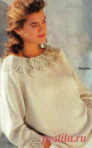 Шелковый пуловер спицами