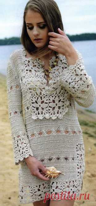Льняное платье крючком