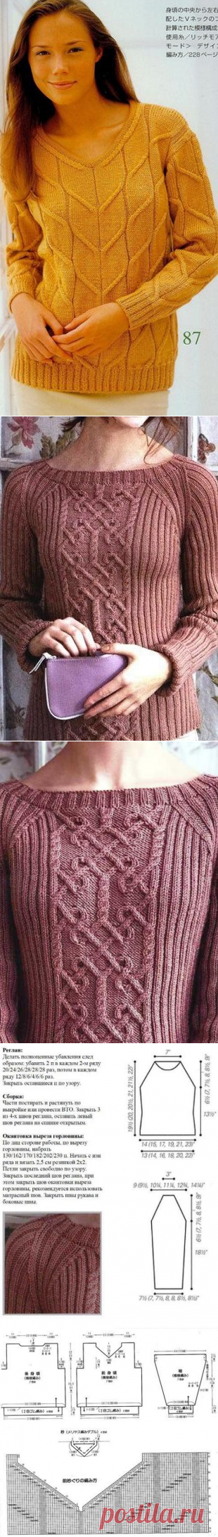 Мастера и умники: 2 пуловера с красивыми аранами + схемы
