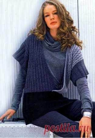 трехцветная безрукавка с запахом вязание схемы вязания вязание
