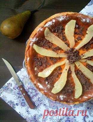 Творожный пирог с маком и грушами.