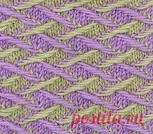 Двухцветный узор спицами Этот узор очень плотный и формоустойчивый. Требует усидчивости и тщательности - важно не затянуть вытянутые петли. Но усилия того стоят - этот необычный узор прекрасно подойдет для вязания жакетов и пальто.