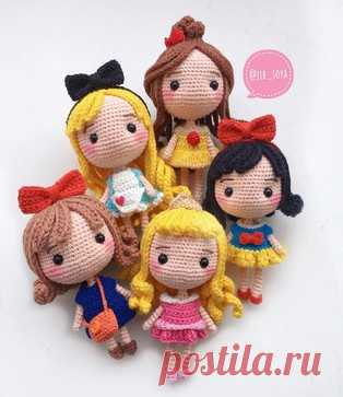 Princess Disney of an amiguruma. Schemes and descriptions for knitting of toys a hook! A free master class in knitting of small dolls in an image of princesses of the well-known animated films Disney. Author of the scheme of knitted toys: jib_soya. Changing p …