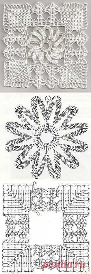 Tita Carré - Agulha e Tricot : Square de Crochet com flor central e gráfico