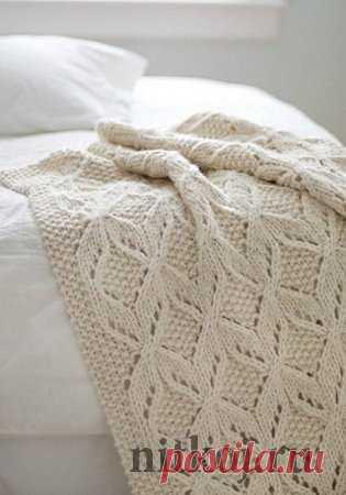 плед спицами схема узора ниткой вязаные вещи для вашего дома
