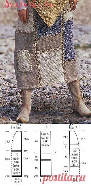 Вязаная спицами юбка в стиле пэчворк