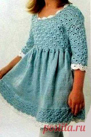 Платье для девочки крючком и спицами, схема и описание