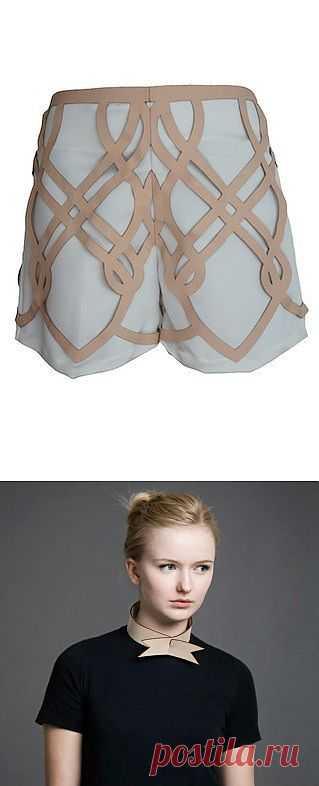 Кожаный декор шорт + необычный галстук-бабочка / Кожа / Модный сайт о стильной переделке одежды и интерьера