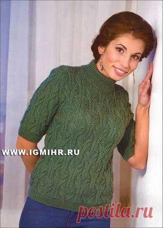 Зеленая кофточка с ажурным узором. Спицы  #вязание #рукоделие #спицы Размер: 46/48  Показать полностью…