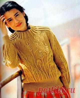Песочный свитер с красивым узором #вязание #рукоделие #спицы #вязание #рукоделие #спицы.