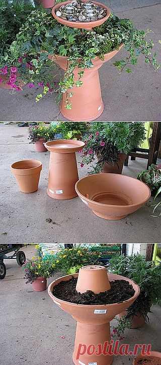 Цветущая ваза-поилка для птиц. Такая ваза-поилка для птиц без сомнения, украсит ваш уголок. Сделать ее просто.