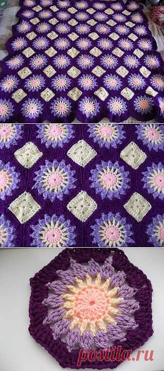 Фиолетовое одеяло с солнышками..