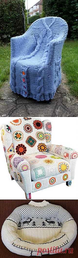 Коллекция стульев с вязаными чехлами - Knitted Chairs. Отличные идеи!