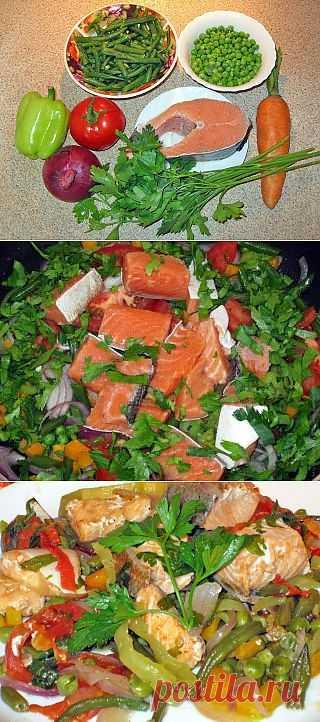 Рыба с овощами в белом вине
