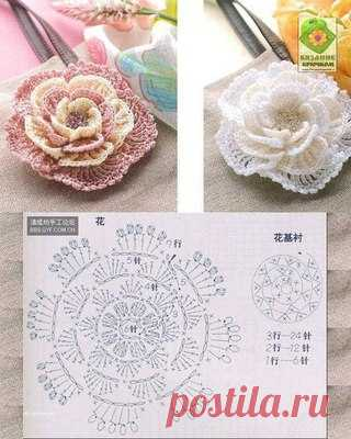 цветы крючком схемы вязаные цветы постила