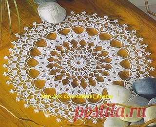 Белая салфетка.  #вязание_крючком #салфетки_крючком #схемы_крючком #crochet #knitting