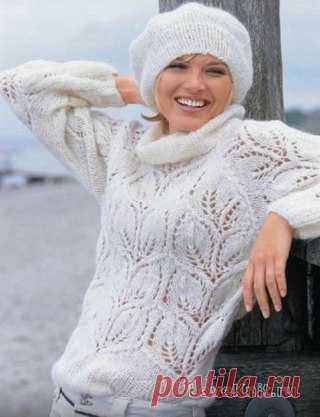 Белый пуловер и берет  Для пуловера Вам нужно  350 г белой пряжи Baby Kid (60% королевского мохера, 40% микроволокна, 200 м/50 г) спицы № 4,5 и № 5 круговые спицы № 4,5 крючок № 4 Внимание! Вязать двойной нитью. Рекомендуем сделать выкройку в натуральную величину. Резинка 1/1: попеременно 1 лиц., 1 изн. Резинка 4/4: попеременно 4 лиц., 4 изн. Лицевая гладь: лиц. р. - лиц. п., изн. р. -изн. п., в круговых рядах вязать только лиц. п. Узор из листьев: вязать по схеме, на кото...