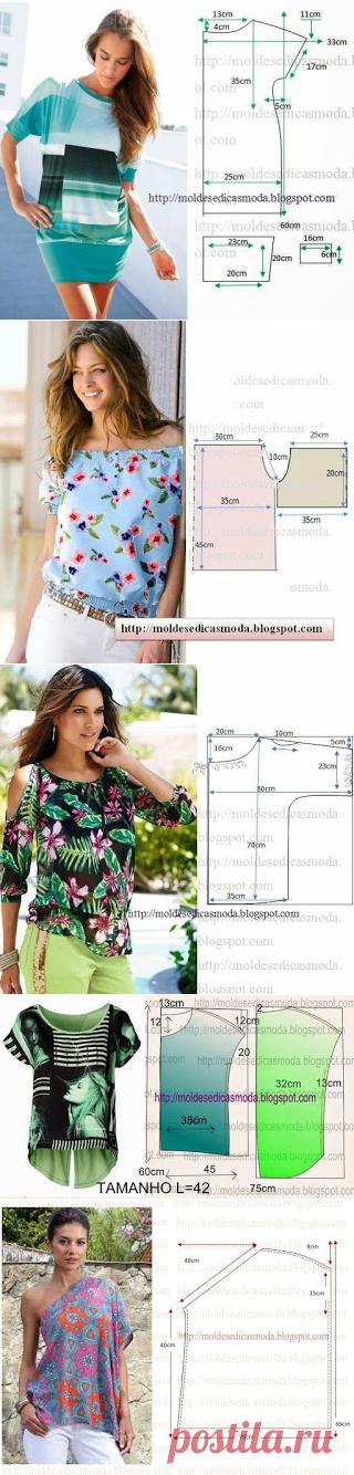 Bluzki, la túnica - muchos patrones simples, la costura, la ropa ...