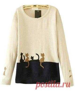 """Узор """"Кошечки"""" для вязания жаккардом Делюсь кошачьей находкой. Изысканный узор для любителей пушистых друзей. Стильный свитер или короткое платье может получиться с использованием такой схемы."""