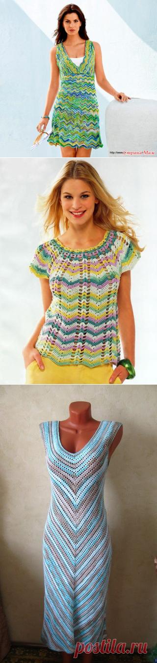 Вязание платья зигзагами схемы