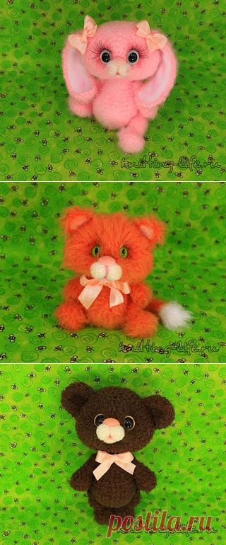 Зайка, котик, мишка крючком   1000 схем амигуруми на русском