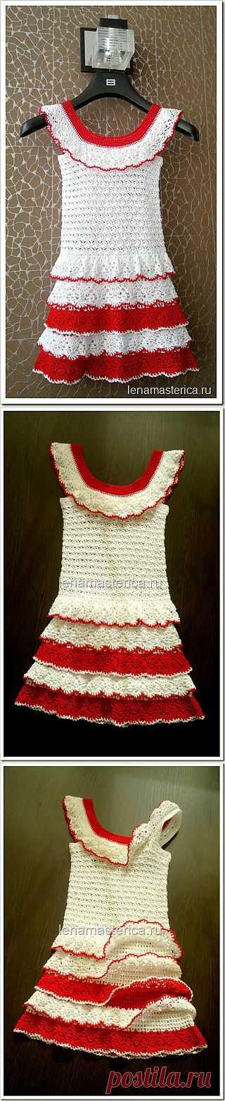 Детское платье, связанное крючком из хлопка