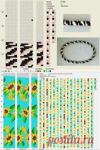 Схемы бисерных жгутов крючком (подборка)