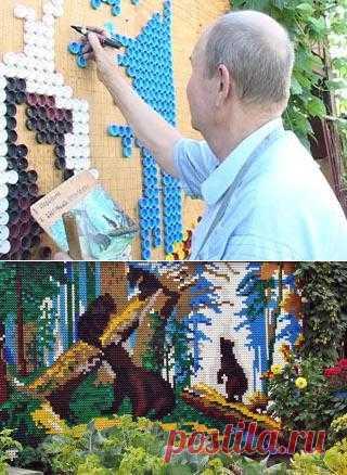 Николай Петряков создает картины из пластиковых пробок (Братск, Иркутская область).