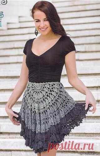 вязаная юбка вязание крючок рукоделие Mirpiarcom модели со
