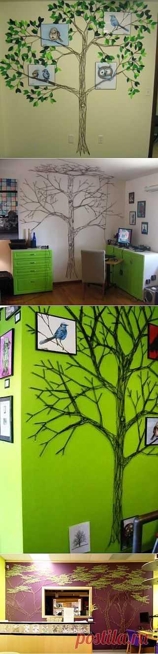 Деревья из пряжи / Декор стен / Модный сайт о стильной переделке одежды и интерьера