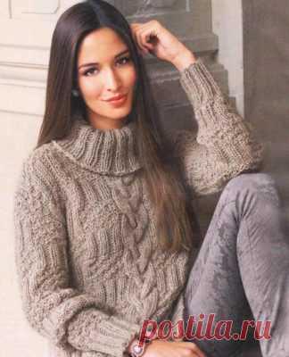 вязаные спицами женские свитера пуловеры и джемперы вязание