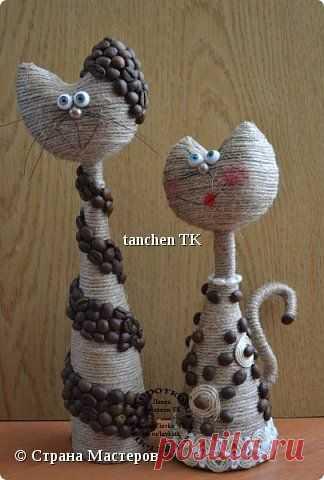 (3) Поделка изделие Моделирование конструирование Влюбленные котейки Кофе Пенопласт Шпагат фото 1 | поделки из шпагата,кофейных зерен и мешковины
