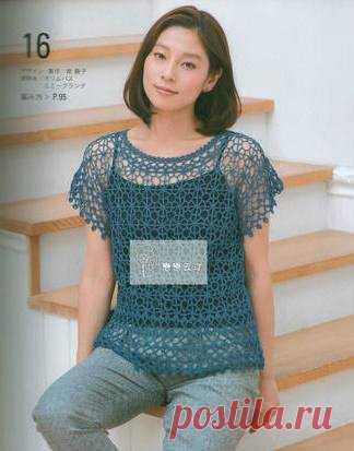нежный топ крючком схема топ крючком схемы из японских журналов