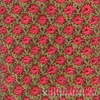 Планета Вязания | Двухцветный узор спицами в технике ленивого жаккарда