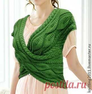 """""""Восторг"""" - зелёный,жилет вязаный,кофточка спицами,мода 2013,араны,ажурный узор"""