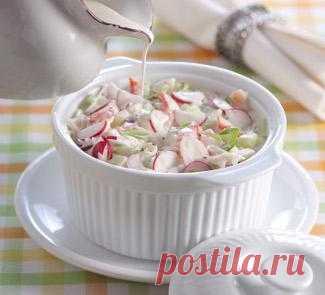 """""""Белая"""" окрошка с крабами, суп. Пошаговый рецепт с фото на Gastronom.ru"""